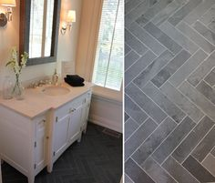 Herringbone in gray porcelain.  Google Image Result for https://houseandhome.com/sites/houseandhome.com/files/images/house-home-showhome-bathroom-herringbone-tile.jpg