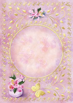 pink ornate frame with circle center