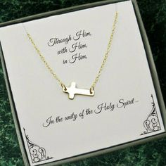 First Communion, Confirmation gift, Christian Jewelry - Gold Side Cross Necklace, Gold Filled First Communion Gifts, First Communion Dresses, First Holy Communion, Christian Jewelry, Christian Gifts, Gifts For Girls, Girl Gifts, Side Cross Necklaces, Confirmation Gifts