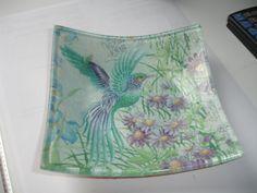 Bird - decoupage under glass