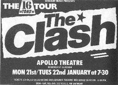 the clash concert poster Tour Posters, Band Posters, Music Posters, Event Posters, The Future Is Unwritten, British Punk, Mick Jones, Joe Strummer, Music Flyer