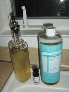EASY DISH SOAP RECIPE    2 cups liquid castle soap, 1/2 cup water, 5 drops DoTerra lemon essential oil)  5  1/2 cup white vinegar.   Stir all ingredients together until blended. Store in a squirt top bottle. Use 2 tablespoons per load of dishes, shake a little before use to blend the ingredients. http://www.simple-essential-oils.com