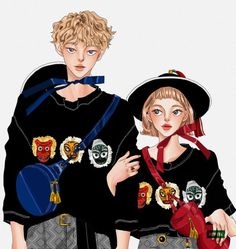 15번째 이미지 Cute Couple Drawings, Korean Traditional, Digital Art Girl, Fashion Couple, Fashion Art, Fashion Design, Manga Characters, 2d Art, Cute Couples