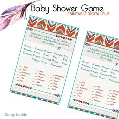 Tribal Baby Shower - Mom + Baby Animal Matching Game - Instant Download