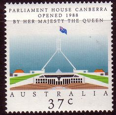 """Features: Stamps shown are sample photos only. Australia 1988 Opening of New Parliament House - Canberra Item Details: Stamps for sale are """"Mint or Used"""". House Canberra, Commemorative Stamps, Her Majesty The Queen, Houses Of Parliament, Australian Art, Stamp Collecting, Postage Stamps, Over The Years, New Zealand"""