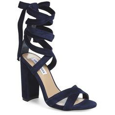 "Steve Madden 'Christey' Wraparound Ankle Tie Sandal, 4"" heel ($110) ❤ liked on Polyvore featuring shoes, sandals, navy suede, ankle strap sandals, wrap sandals, navy blue shoes, navy sandals and wrap around sandals"