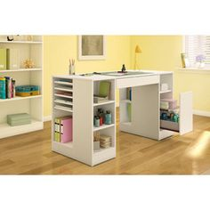 South Shore Crea Collection Pure White Craft Hobby And Sewing Machine Table    16614123   Overstock   Big Discounts On South Shore Furniture Sewing  Storage   ...