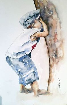 """""""Ready or not here I come"""" – by the South African artist Arie Swanepoel - ART Watercolor Painting Watercolor Pictures, Watercolor Artists, Watercolor Techniques, Watercolor Portraits, Watercolor Landscape, Watercolor Paintings, Painting Illustrations, Simple Watercolor, Abstract Watercolor"""