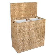 Perry Divided Hamper With Liners Savannah Weave At