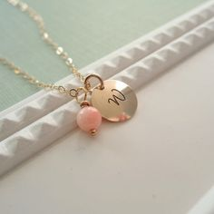 Coral initial necklace, custom gold initial, personalized beach wedding jewelry, pink custom necklace, on Etsy, $29.00