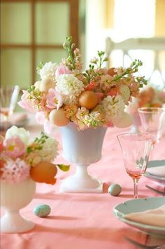 Easter Table by Karin Lidbeck-Brent » The milk glass is such a nice touch.