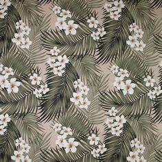 "Plumeria Palm tropical print fabricin color cream on base cloth of 100% cotton bark Kahala. Repeat: H-22.5""; V-26.0"