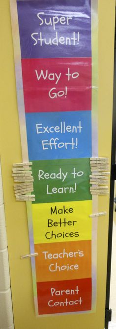 Classroom behavior chart. This is used in a school I sub at. It works great!
