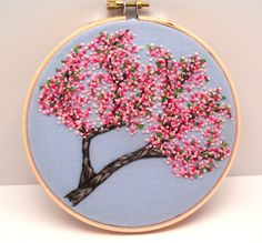 Cherry Blossoms Hand Embroidery, Hand Stitched Embroidery Hoop Art, Pink Spring…