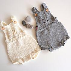 Ravelry: Goldkind Romper pattern by Karin Lundin Baby Romper Pattern Free, Baby Sweater Knitting Pattern, Baby Hats Knitting, Knitting For Kids, Baby Knitting Patterns, Knitted Baby Outfits, Knitted Baby Clothes, Knitted Romper, Newborn Outfits