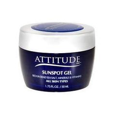 Attitude Line Dead Sea Susnspot Gel - All Skin Types by Attitude Line. $29.00. An amazing formula which contains a powerful combination of proven discoloration fighting agents, and other natural ingredients known for its ability to revitalize and renew the skin, such as Aloe Vera gel, ginger oil and lemon oil, which help lighten spots, tighten and nourish your skin.. This revitalizing new formula will help remove sunspots, brown-black pigmentation and discoloration spot...