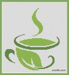 Размер в крестиках: 100х110. Количество оттенков:2. Схема для вышивкизеленого чая.