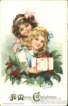 Frances Brundage-postcard-Type: Divided Back Stamp: 1C Postmark/Cancel: 1913 Dec-21  Joliet, Il A Merry Christmas  Series 208