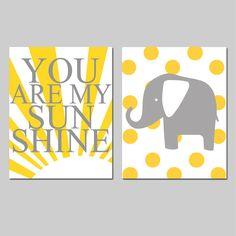 Sunshine Elephant Nursery Art - Set of Two 8x10 Prints - You Are My Sunshine and Polka Dot Elephant - Choose Your Colors - Yellow, Gray, on Etsy, $39.50