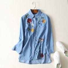 >> Click to Buy << Momoluna 2017 Woman vintage Embroidery long Floral Denim vetement  Blouse Shirt bluzka koszula damska tunic chemise tunique s m #Affiliate