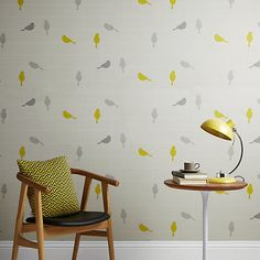 Buy John Lewis Bird on a Wire Wallpaper, Smoke Online at johnlewis.com