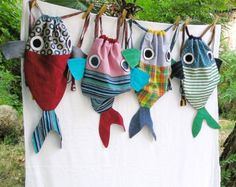 Along with my Fish friend - Drawstring backpack for children- Nursery - made to order