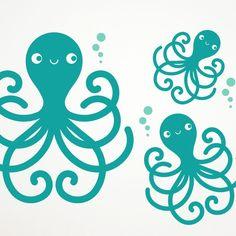 Octopus Family Wall Decals Kids Underwater Ocean Nursery