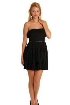 DHStyles Women's Chic Strapless Pleated Dress with Belt
