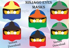 Instant download 6 Printable Ninjago eyes masks !!   You want to make your Ninjago party special! 6 Ninjago eyes masks to make you guests happy !   Just cut the round eyes hole , you can glue them on party glasses or make a small hole on each side of the mask and attach elastic.  You will receive: ❀ 2 zipped files with6 jpeg files, high resolution, paper size 8.5 X11   ❀ each mask is around 8 inch width ❀ INSTANT DOWNLOAD (please check your spam mail)  ❀ You can print at home or upload to…