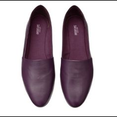 Kate Spade SATURDAY Leather Slip Ons Plum Purple Bought new and worn a few times. The price reflects the condition. These are purple leather with cloth on the inside. They're kind of like fancy Toms, which is why I got them. Just have tooooo many shoes. There is some wear to the sole, toe and heel of the shoes. No stains I can see. kate spade Shoes Flats & Loafers