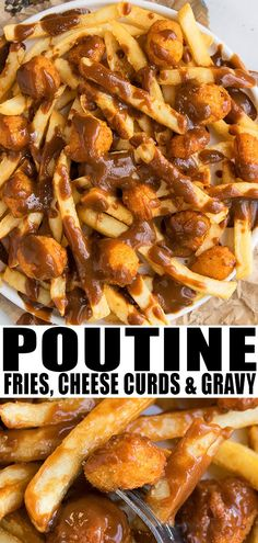 HOMEMADE POUTINE RECIPE Quick easy loaded with French fries cheese curds and brown gravy Originated in Canada and the perfect game day food From Ad 219902394290900558 Easy Healthy Dinners, Easy Healthy Recipes, Quick Meals, Easy Dinners, Vegetarian Recipes, Game Day Food, Game Day Recipes, Cheese Curds, Canadian Food