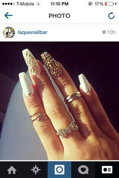 Gold rhinestones & white nails w/ diamonds