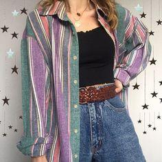 Vintage stripe boyfriend shirts drop this week on my Depop shop. Which is yo - Hoco Shirts - ideas of Hoco Shirts - Vintage stripe boyfriend shirts drop this week on my Depop shop. Which is your favourite? 123 or . Cute Casual Outfits, Retro Outfits, Fall Outfits, Vintage Outfits, Vintage Clothing Styles, Vintage Shirts, Tokyo Street Fashion, 80s Fashion, Fashion Outfits