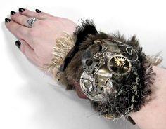 Steampunk Cuff  Industrial Wrist Cuff  LEATHER FUR by edmdesigns, $255.00