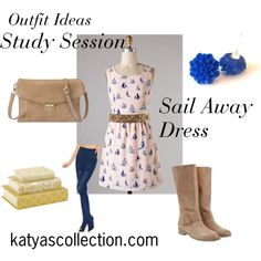 """""""Sail Away Boat Dress - Study Session Outfit"""" by mstravesura on Polyvore"""