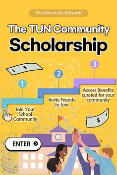 Join the TUN community at your school to enter! $2,000 randomly awarded each month / instant access to millions of dollars in scholarships curated for your community!