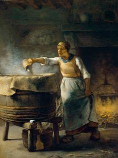 Die Waschfrau , 1853-4, oil on linen by Jean-François Millet (1814 - 1875)