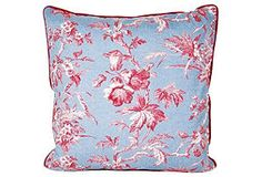 Blue & Pink Toile Pillow