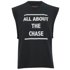 MINKPINK Women's About the Chase T-Shirt ($45) ❤ liked on Polyvore featuring tops, t-shirts, black, crew t shirt, sleeveless tee, crew neck t shirt, relaxed fit t shirt and relaxed fit tops