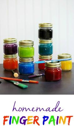 DIY Non-Toxic Homemade Finger Paint - The Anti-June Cleaver Make this DIY Homemade Finger Paint recipe! Your children will have so much fun being artists. Create all of these colors for a fun boredom crusher! Mason Jars, Mason Jar Crafts, Activities For Kids, Crafts For Kids, Diy Crafts, Kids Diy, Creative Crafts, E Mc2, Dollar Stores