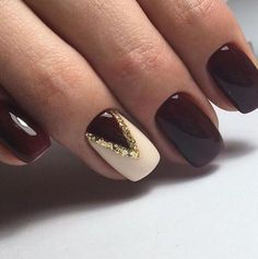 Burgundy With Ivory And Gold Accent Nail
