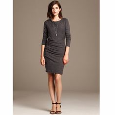 Banana Republic dress So cozy! It's a medium grey color. Full length sleeves. It has a rounded neckline. There's really flattering ruching at the hip and shoulder. 76% polyester, 18% viscose, and 6% spandex. It's a jersey material. Perfect for holiday parties! Brand new with tags. Banana Republic Dresses