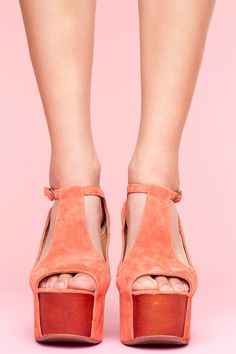 Jeffrey Campbell Foxy Coral Suede and Wood Sandals