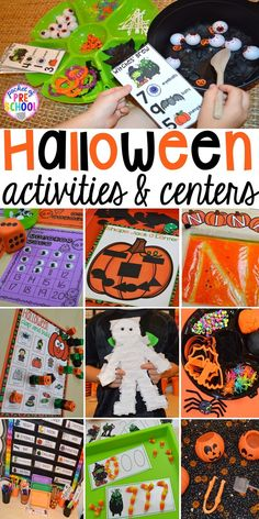 My favorite Halloween activities and centers for preschool pre-k and kindergarten (art math writing letters blocks STEM sensory fine motor). a mummy printable and witches brew counting recipe cards!