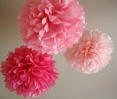 Tissue paper pom-poms diy Tutorial. Want to add a couple more in Jaden's room!