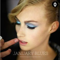 Sky blue shadow with a grey blue swish get the look at www.theapothecaries.com