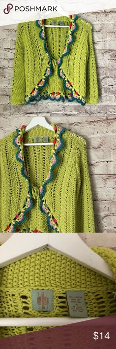 NWT Anthropologie green crochet sweater top cotton NWT Anthropologie green crochet sweater top cotton work SOFT small hwr Anthropologie Sweaters
