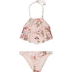 Zimmermann Aerial laser-cut printed halterneck bikini found on Polyvore featuring swimwear, bikinis, swimsuit, bathing suits, pink, bikini, pink swimsuits, swimsuits bikinis, halter bikini and floral swimsuit