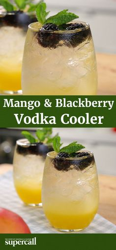 This mixed drink works surprisingly well in a late-summer vodka cooler with a lightly minty mango syrup and juicy blackberries.