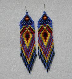 Long Indian style beads earrings tribal style boho от Olisava